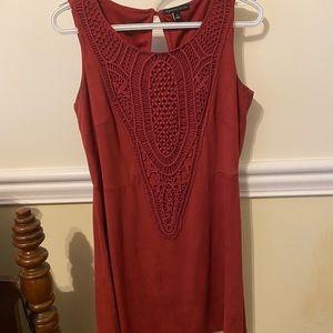 Suede Maroon Dress
